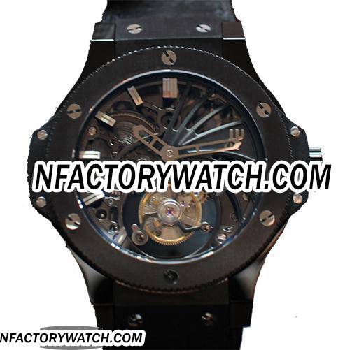 宇舶Hublot Big Bang 大爆炸 Black Full Ceramic 黑色全陶瓷 Skeleton Tourbillon 骷髅陀飛輪-rhid-117921